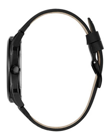 Gents Black Case Black Genuine Leather Watch