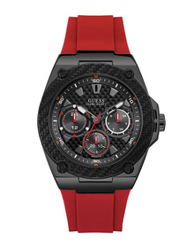 Gents Black Case Red Silicone Watch