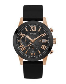 Gents Rose Gold Tone Case Black Silicone Watch