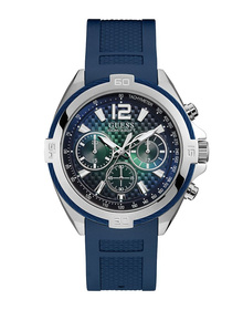 Gents Silver Tone Case Blue Silicone Watch