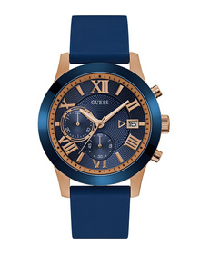 Gents Rose Gold Tone/Blue Case Blue Silicone Watch