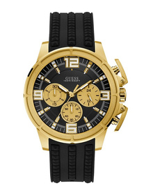 Gents Gold Tone Case Black Silicone Watch