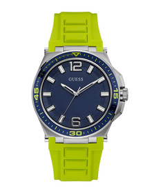 Gents Silver Tone Case Green Silicone Watch