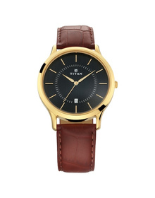 Black Dial Leather Strap Watch
