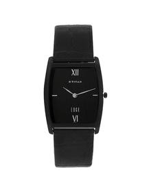 Edge Black Dial Black Leather Strap Watch