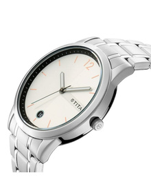 Workwear Watch with White Dial & Stainless Steel Strap