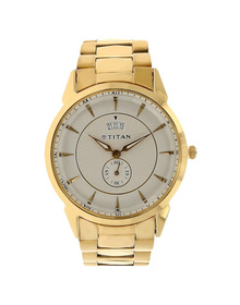 Silver Dial Golden Stainless Steel Strap Watch