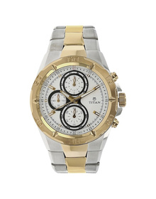 White Dial Multicoloured Metal Strap Watch