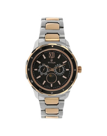 Black Dial Two Toned Stainless Steel Strap Watch