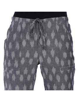 Grey Ikat Cotton Pants With Four Pockets: EP01A-EP01A-L-sm