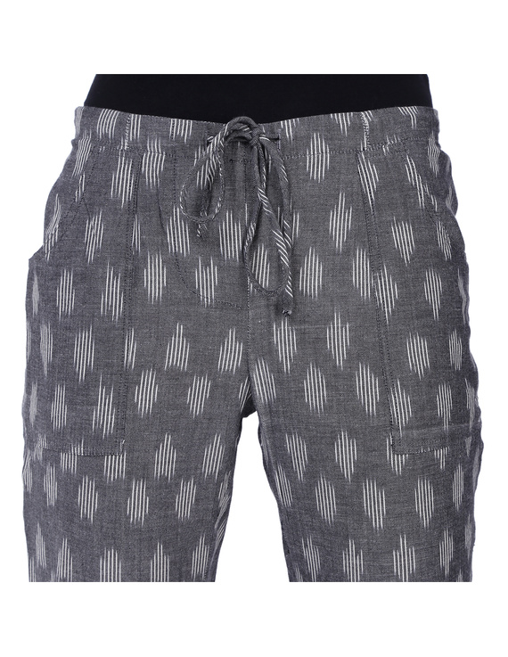 Grey Ikat Cotton Pants With Four Pockets: EP01A-EP01A-L