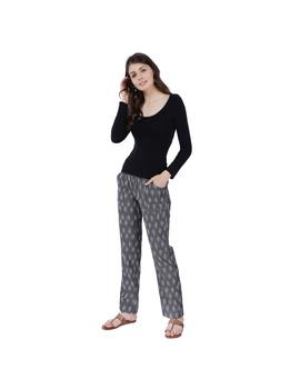 Grey Ikat Cotton Pants With Four Pockets: EP01A-L-1-sm