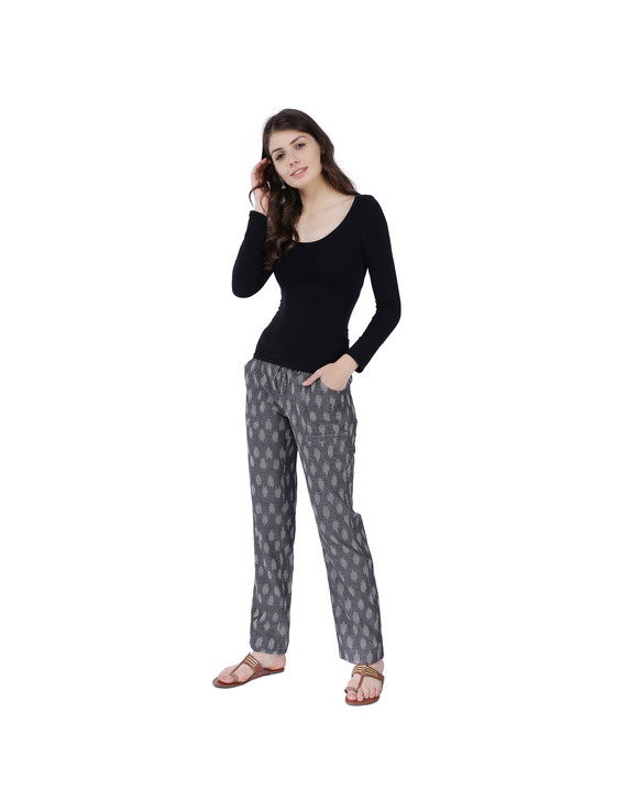 Grey Ikat Cotton Pants With Four Pockets: EP01A-L-1
