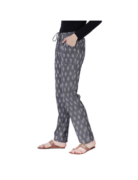 Grey Ikat Cotton Pants With Four Pockets: EP01A-L-2-sm
