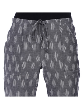 Grey Ikat Cotton Pants With Four Pockets: EP01A-EP01A-XL-sm