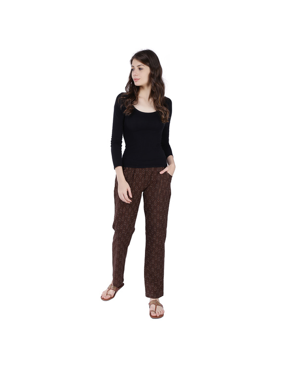 Brown Ikat Cotton Pants With Four Pockets : EP01F-EP01F-S
