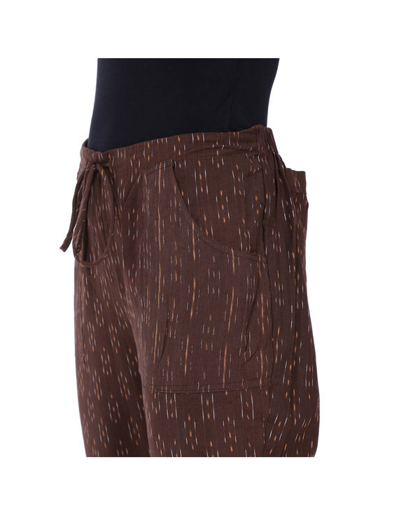 Brown Ikat Cotton Pants With Four Pockets : EP01F-XL-1