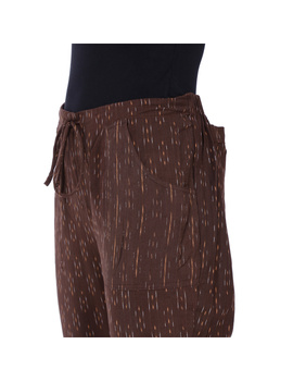 Brown Ikat Cotton Pants With Four Pockets : EP01F-XXL-1-sm