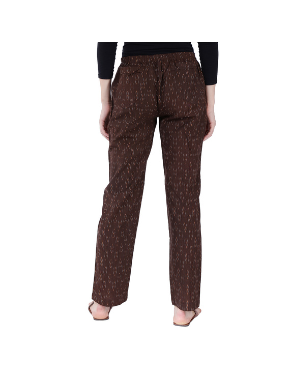 Brown Ikat Cotton Pants With Four Pockets : EP01F-XXL-2