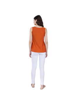ORANGE MANGALAGIRI TOP WITH MULTICOLOURED EMBROIDERY : LB130A-S-1-sm