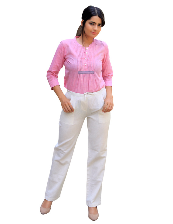 BABY PINK SHORT TOP IN MANGALAGIRI COTTON : LB140A-LB140A-M