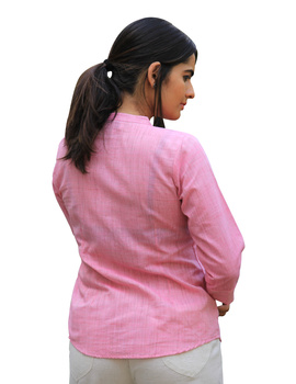 BABY PINK SHORT TOP IN MANGALAGIRI COTTON : LB140A-M-2-sm
