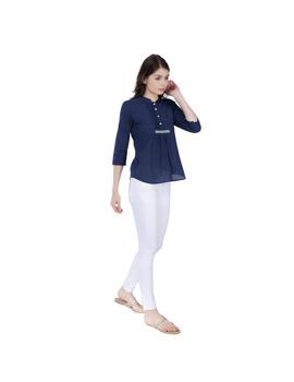 INDIGO BLUE SHORT TOP IN MANGALAGIRI COTTON : LB140B-LB140B-XL-sm