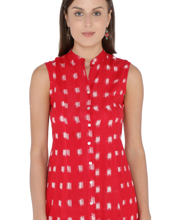 SLEEVELESS A LINE DRESS WITH EMBROIDERED POCKETS IN RED DOUBLE IKAT FABRIC: LD310A-S-1