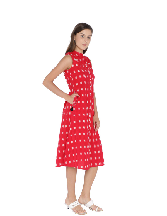 SLEEVELESS A LINE DRESS WITH EMBROIDERED POCKETS IN RED DOUBLE IKAT FABRIC: LD310A-LD310A-M