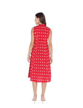 SLEEVELESS A LINE DRESS WITH EMBROIDERED POCKETS IN RED DOUBLE IKAT FABRIC: LD310A-M-2-sm