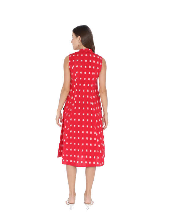 SLEEVELESS A LINE DRESS WITH EMBROIDERED POCKETS IN RED DOUBLE IKAT FABRIC: LD310A-M-2
