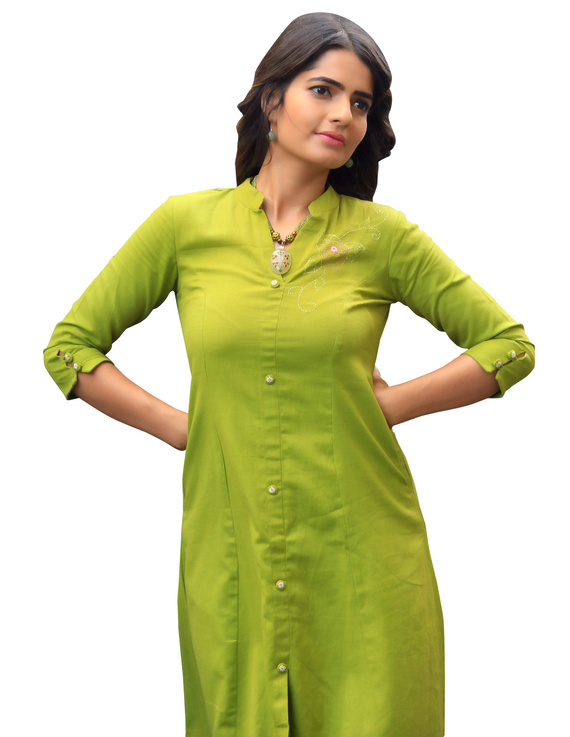 MEHENDI GREEN A LINE DRESS WITH FLORAL EMBROIDERY : LD330B-LD330B-M