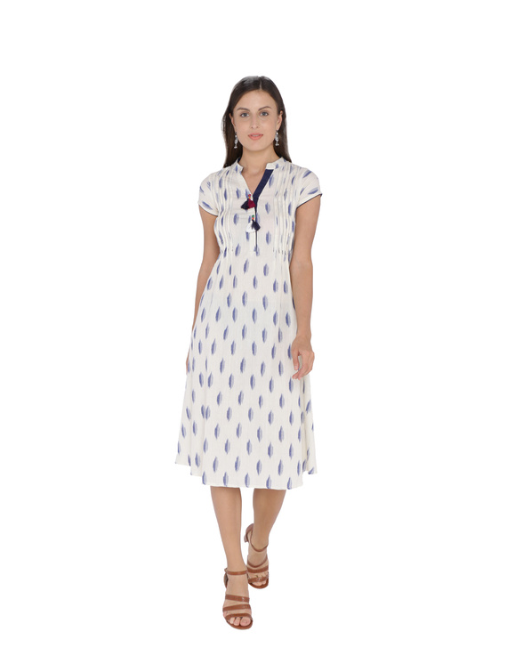 WHITE & BLUE A LINE IKAT DRESS : LD340A-LD340A-XS