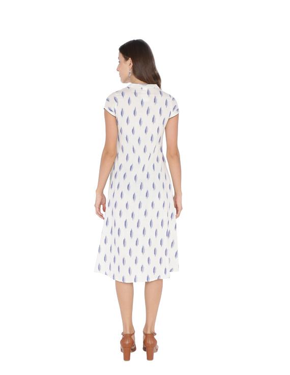 WHITE & BLUE A LINE IKAT DRESS : LD340A-XS-1