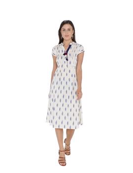 WHITE & BLUE A LINE IKAT DRESS : LD340A-LD340A-M-sm