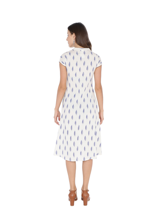 WHITE & BLUE A LINE IKAT DRESS : LD340A-L-1