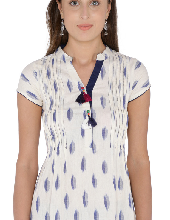 WHITE & BLUE A LINE IKAT DRESS : LD340A-L-2