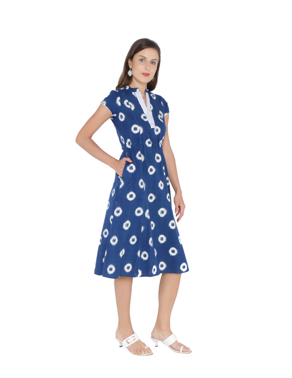 BLUE A LINE DRESS IN DOUBLE IKAT : LD350A-S-2