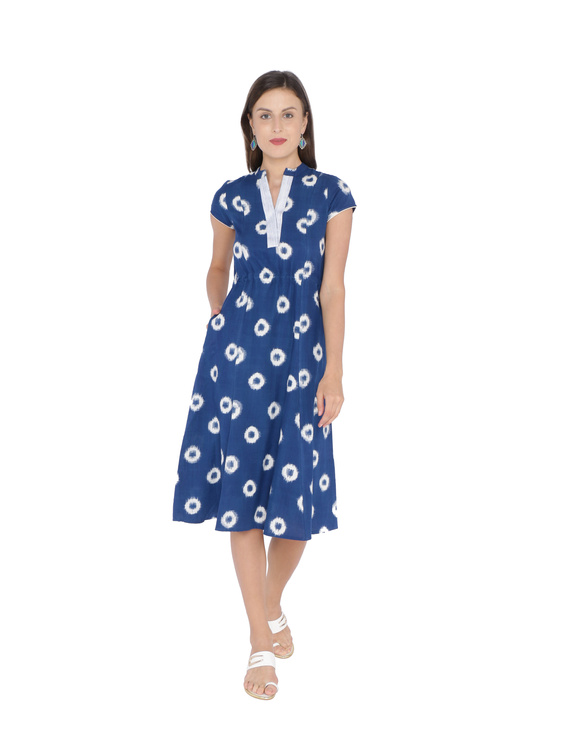 BLUE A LINE DRESS IN DOUBLE IKAT : LD350A-LD350A-M