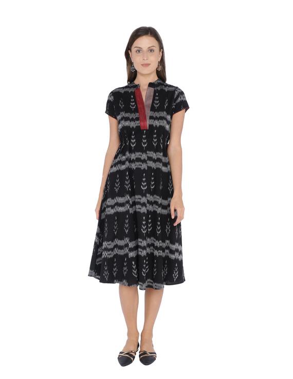 LEAF MOTIF BLACK IKAT A-LINE DRESS : LD350B-LD350B-S