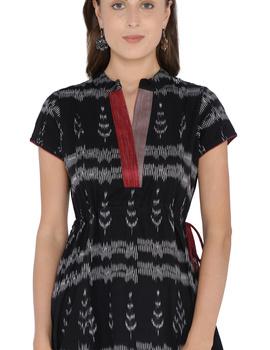 LEAF MOTIF BLACK IKAT A-LINE DRESS : LD350B-S-1-sm