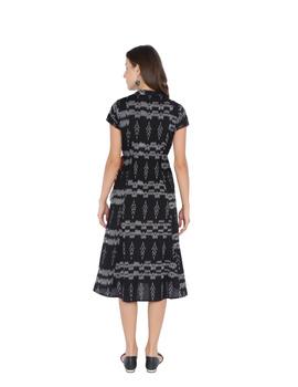 LEAF MOTIF BLACK IKAT A-LINE DRESS : LD350B-S-2-sm