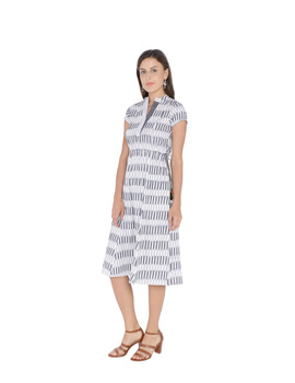 GREY AND WHITE IKAT A LINE DRESS : LD350C-LD350C-M-sm