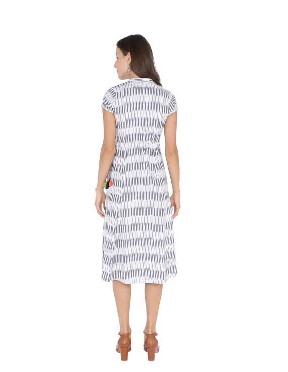 GREY AND WHITE IKAT A LINE DRESS : LD350C-M-2