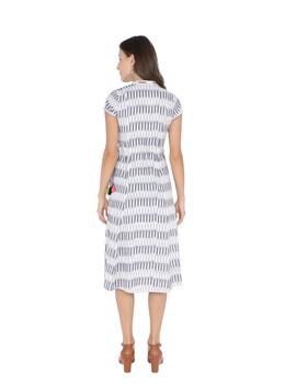 GREY AND WHITE IKAT A LINE DRESS : LD350C-L-2-sm