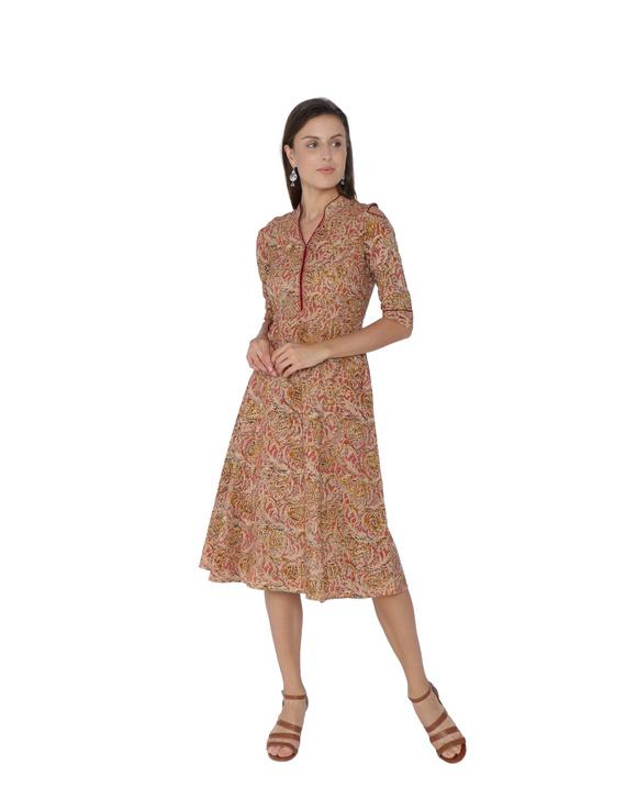 PINK KALAMKARI COLD SHOULDER DRESS: LD360A-LD360A-L