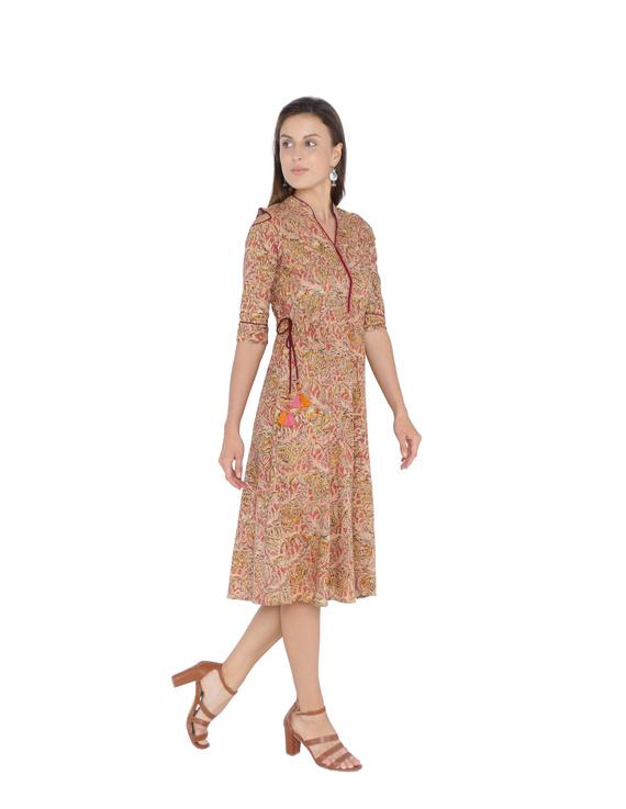 PINK KALAMKARI COLD SHOULDER DRESS: LD360A-L-1