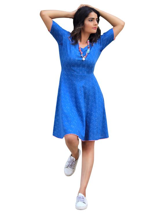 BLUE SHORT DRESS : LD400B-LD400B-XS