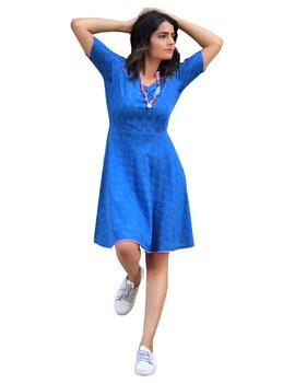 BLUE SHORT DRESS : LD400B-LD400B-M-sm