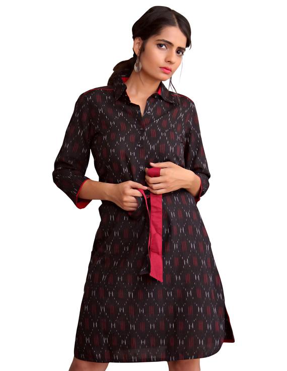 BLACK IKAT SHIRT DRESS : LD410A-LD410A-XS